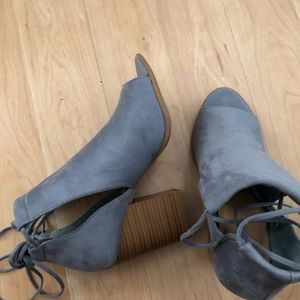 SODA BLUE WRAP AROUND BOOTIES WITH CUT OIT SODES 9